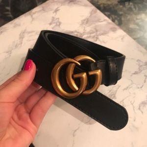 GG Black Leather Belt